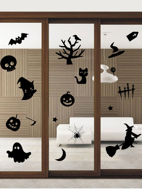 latest Halloween Series Removable Waterproof Room Vinyl Wall Sticker - BLACK  Mobile