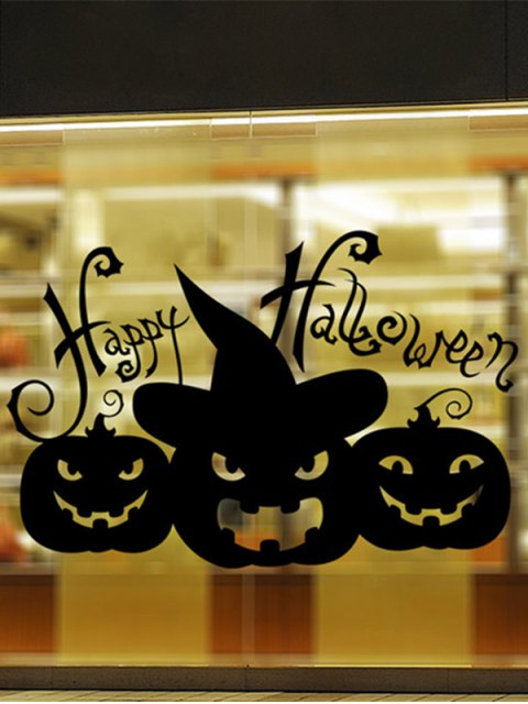 trendy Happy Halloween Pumpkin Witch Removable Waterproof Room Wall Sticker - BLACK  Mobile