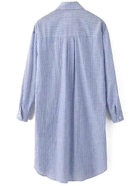 best Printed Striped Turn-Down Collar Long Sleeve Dress - BLUE GRAY L Mobile