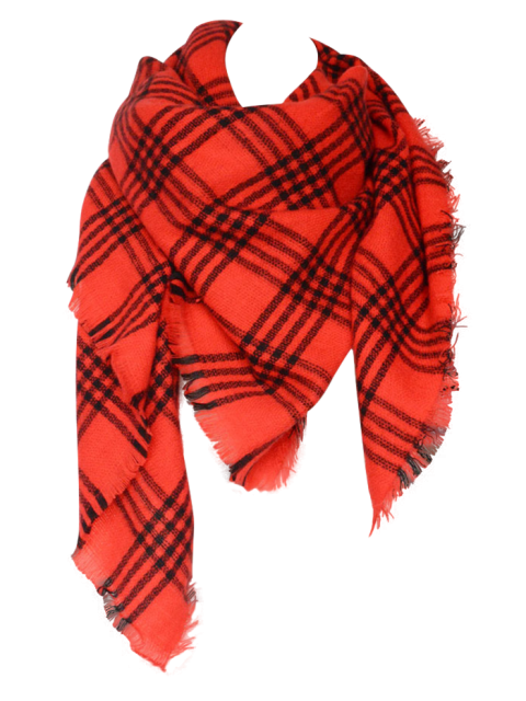 new Plaid Pattern Blanket Scarf - RED  Mobile