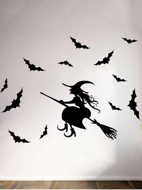 chic Waterproof Happy Halloween Witch Bats Vinyl Wall Stickers Custom - BLACK  Mobile