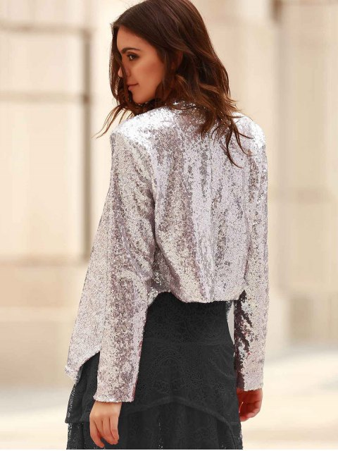 new Asymmetric Long Sleeve Sequins Coat - SILVER S Mobile