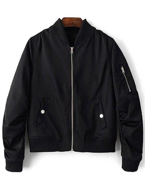fancy Zippered Sleeve Bomber Jacket - BLACK L Mobile
