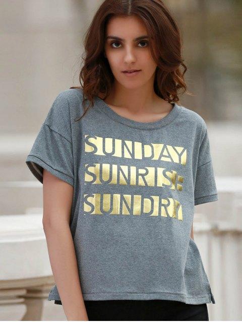 women's Letter Print Short Sleeve Round Neck T-Shirt - GRAY S Mobile