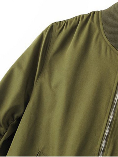 trendy Zippered Sleeve Bomber Jacket - BLUE L Mobile
