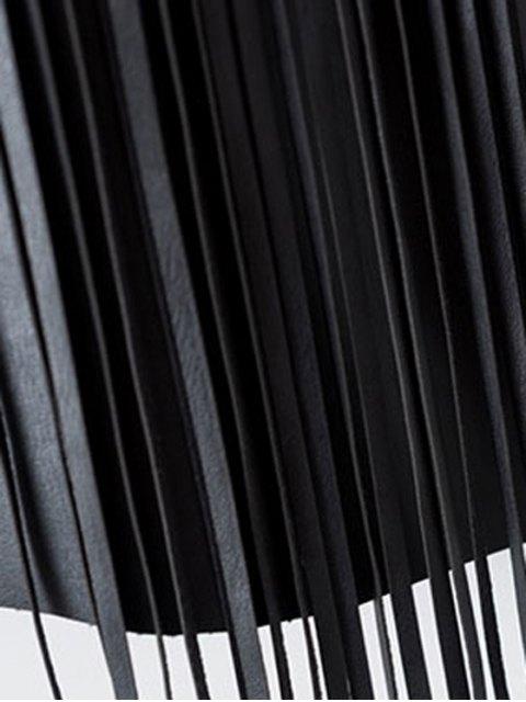 womens PU Leather High Waisted Tassels Spliced Skirt - BLACK M Mobile