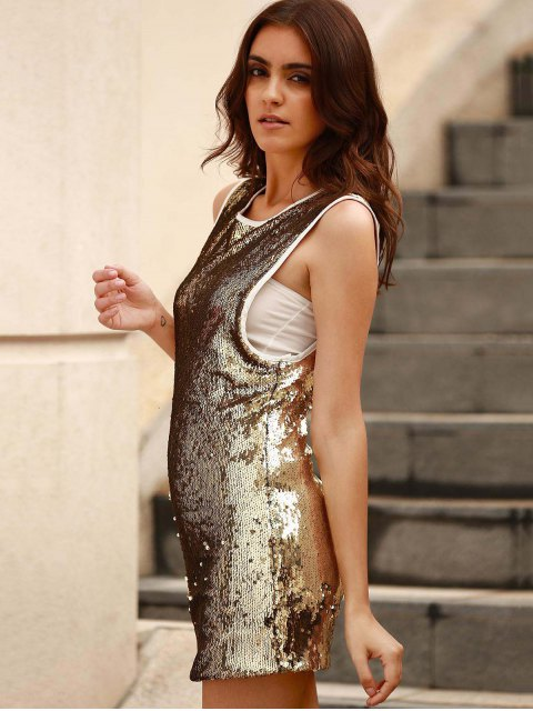 women Sequins Round Collar Sleeveless Bodycon Dress - GOLDEN 2XL Mobile