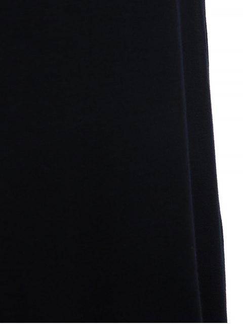 hot Cold Shoulder Round Collar 3/4 Sleeve Solid Color T-Shirt - BLACK L Mobile