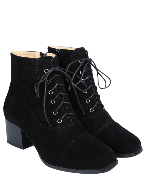 womens Suede Square Toe Chunky Heel Boots - BLACK 38 Mobile