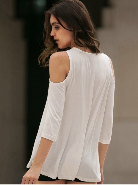 women Cold Shoulder Round Collar 3/4 Sleeve Solid Color T-Shirt - WHITE M Mobile