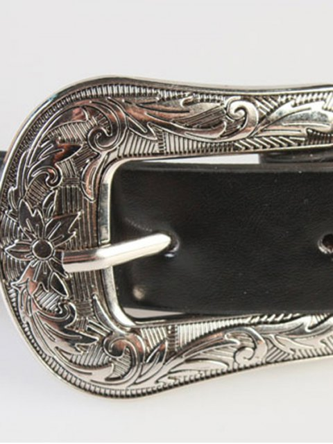 best Embossed Pin Buckle Waistband - BLACK  Mobile