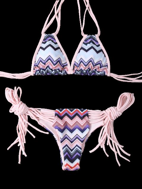 women's Halter Zig Zag Stringy Bikini Set - COLORMIX S Mobile