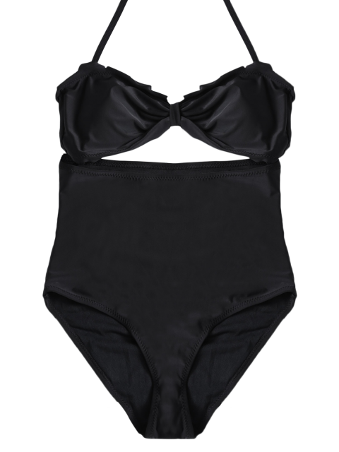trendy Bowknot Cut Out One-Piece Swimwear - BLACK XL Mobile