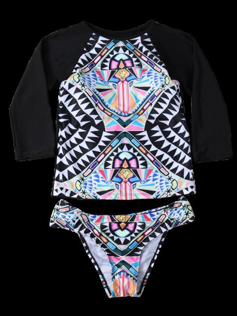 shop Tribal Print Cropped Rashguard Bikini Set - BLACK M Mobile