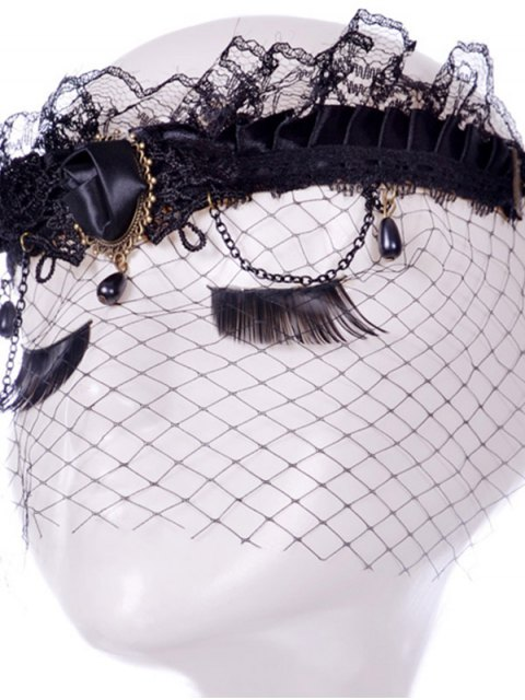 womens Rose Water Drop Forehead Chain Party Mask - BLACK  Mobile
