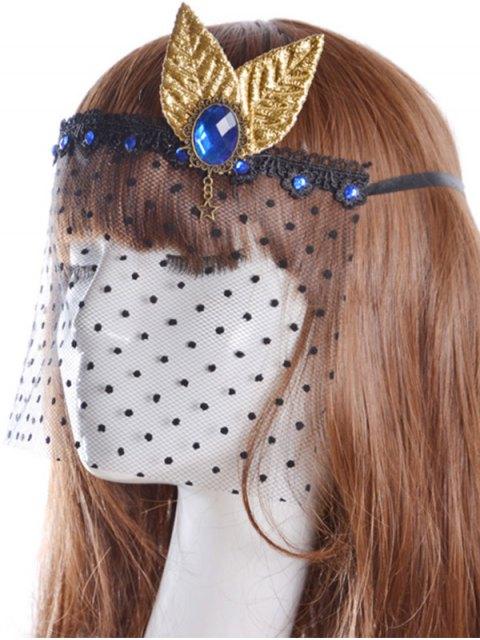 women Faux Sapphire Leaf Hair Accessory Party Mask - BLACK  Mobile