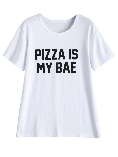 lady Jewel Neck Pizza Is My Bae T-Shirt - WHITE M Mobile