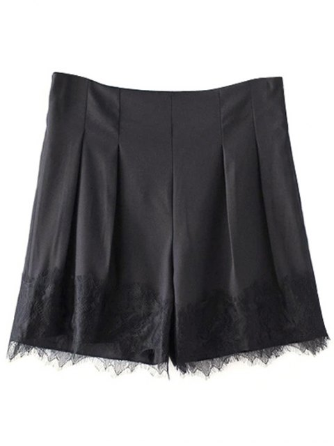 new Black Lace Splice High Waist Shorts - BLACK S Mobile