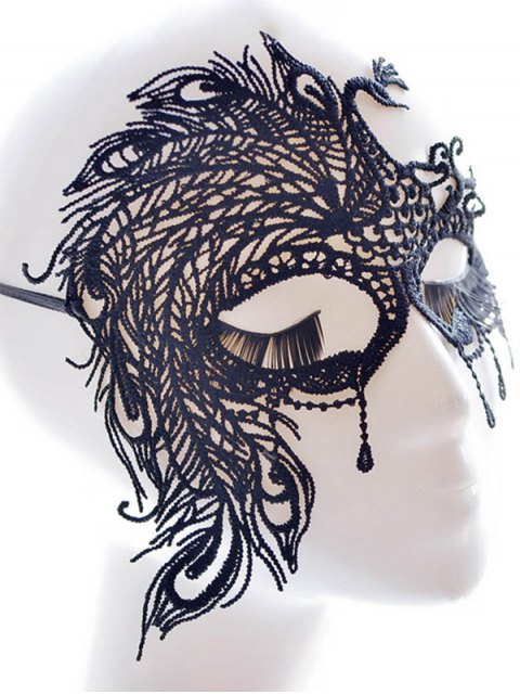 ladies Faux Lace Peacock Feather Party Mask - BLACK  Mobile