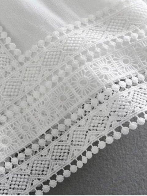 shop Cutout Lace Chiffon Top - WHITE M Mobile