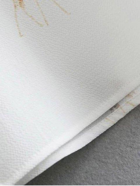 lady Tie-Up Giraffi Print White Shirt - WHITE S Mobile