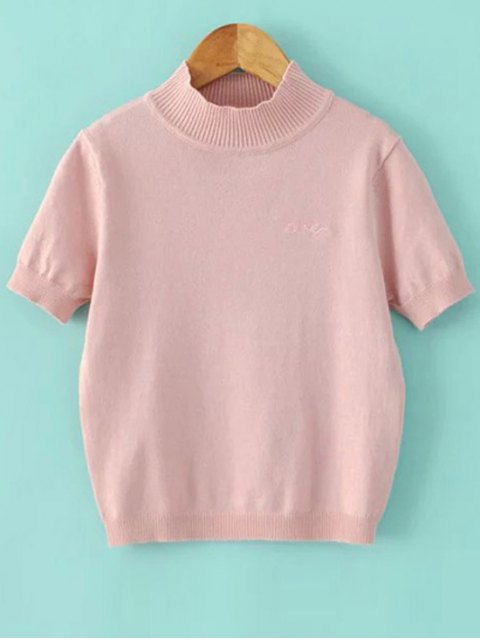 womens Solid Color Stand Neck Short Sleeve Knitwear - PINK S Mobile