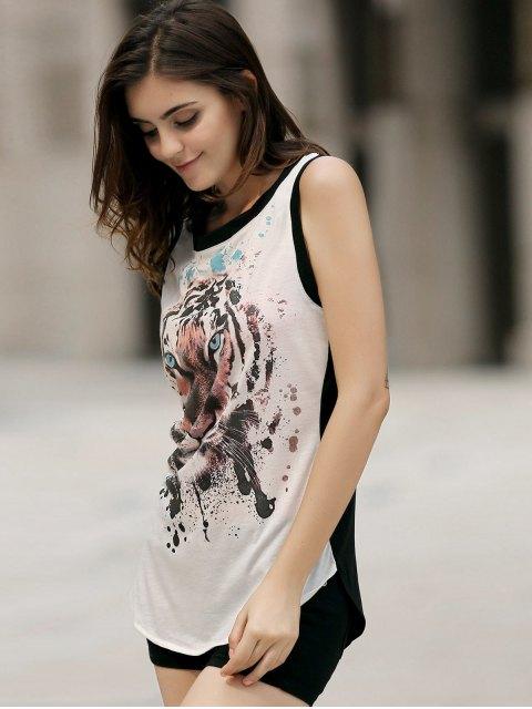 shops Animal Print Round Neck Sleeveless Tank Top - WHITE 2XL Mobile