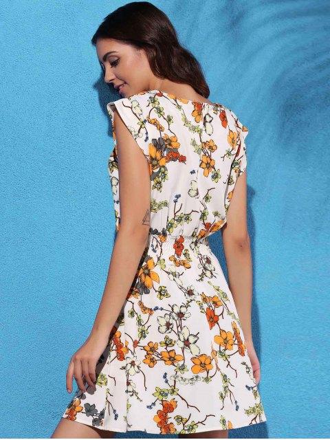 outfit Floral Print Elastic Waist Chiffon Dress - OFF-WHITE L Mobile