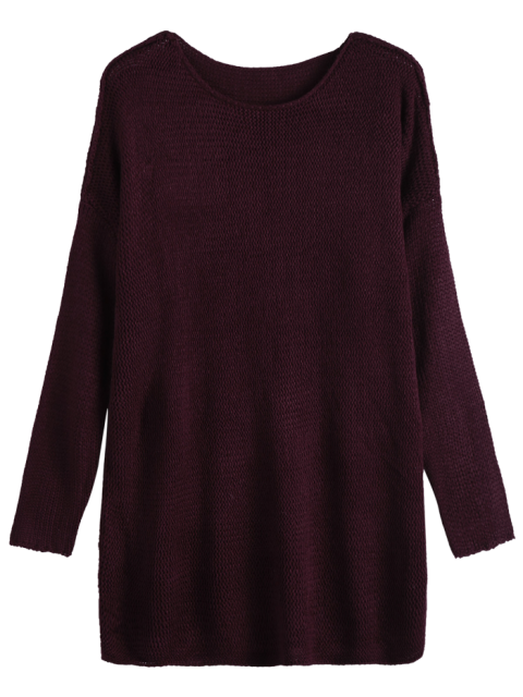 trendy Dropped Shoulder Oversized Sweater - WINE RED M Mobile