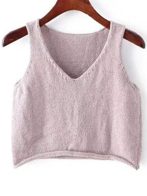 unique Solid Color Plunging Neck Sleeveless Knit Tank Top - PURPLE ONE SIZE(FIT SIZE XS TO M) Mobile