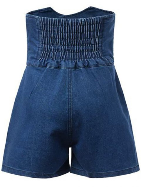 chic Solid Color High Waist Denim Shorts - DEEP BLUE M Mobile