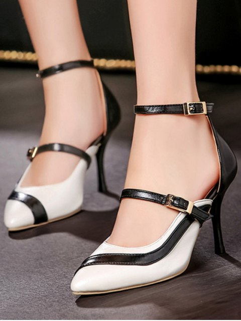 shop Color Block Buckle Pointed Toe Pumps - WHITE 38 Mobile