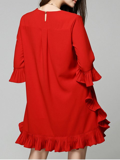 chic Flouncing Red Dress - RED M Mobile