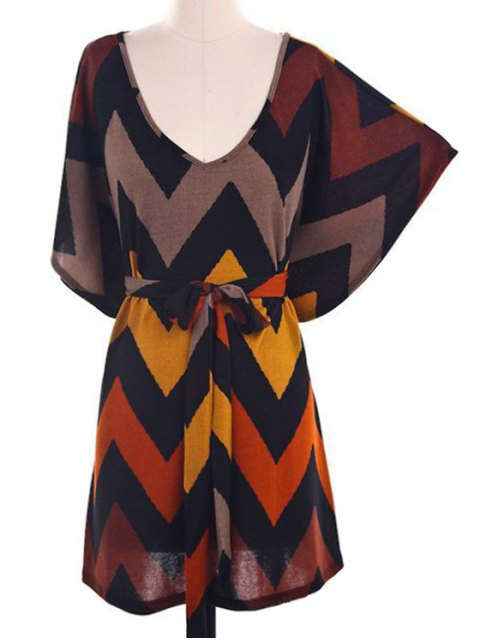 trendy Batwing Sleeve Chevron Stripe Dress - COLORMIX L Mobile