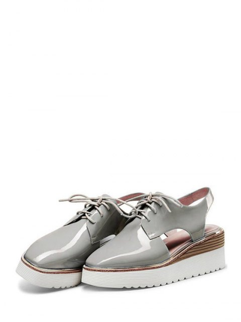 new Slingback Square Toe Lace-Up Platform Shoes - GRAY 36 Mobile