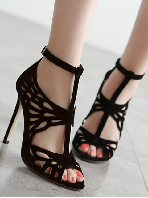 outfits Black Hollow Out T-Strap Sandals - BLACK 37 Mobile