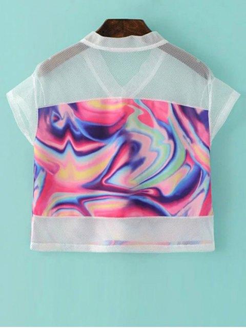 ladies Mesh Splice Print V Neck Short Sleeve T-Shirt - COLORMIX S Mobile