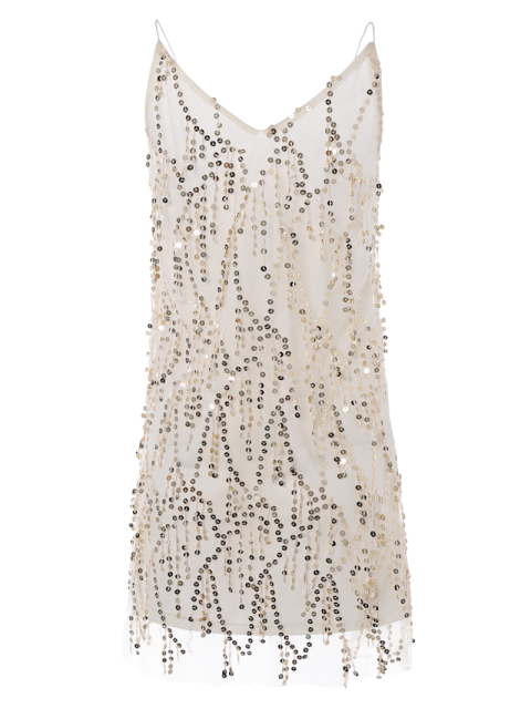 sale Sequins Cami A Line Tassels Club Dress - BEIGE XL Mobile