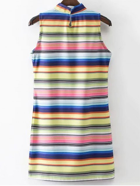 women Colored Stripe Stand Neck Sleeveless Dress - STRIPE S Mobile