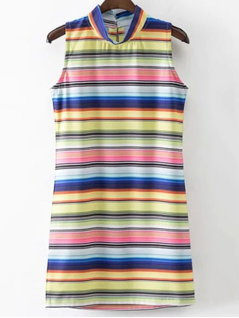 Colored Stripe stand cou Robe sans manches - Rayure S Mobile