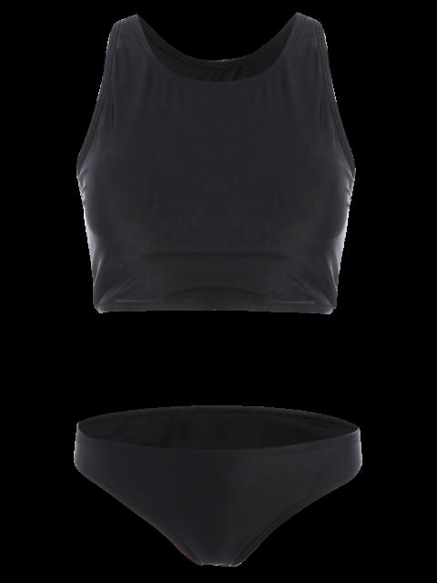 shops Padded High Neck Sporty Bikini Set - BLACK M Mobile