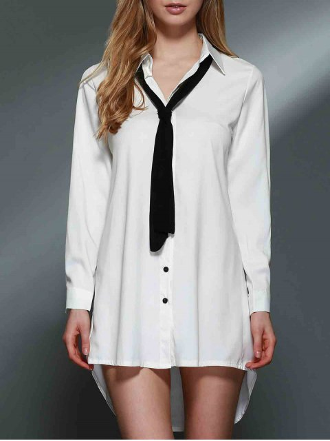 fancy Bowknot Embellished Tunic Shirt Dress - WHITE L Mobile