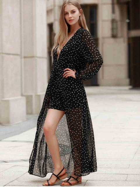 outfit Plunging Neck Polka Stars Layered Romper - BLACK XL Mobile