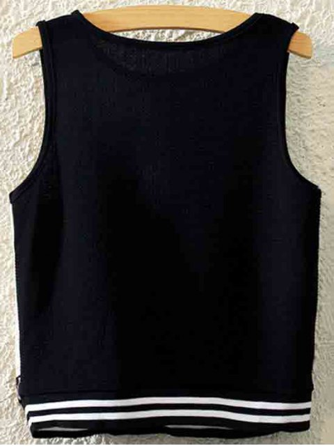 fancy Number Print Round Neck Tank Top - BLACK ONE SIZE(FIT SIZE XS TO M) Mobile