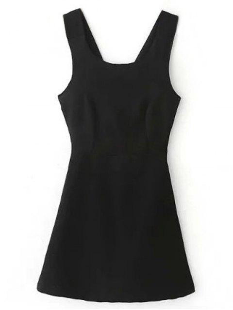 shop Back Cross Self Tie Sleeveless Dress - BLACK S Mobile