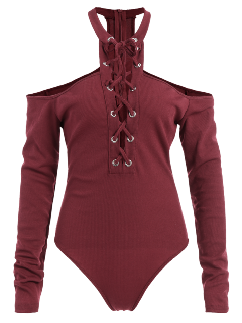 chic Long Sleeves Lace Up Cold Shoulder Bodysuit - BURGUNDY XL Mobile