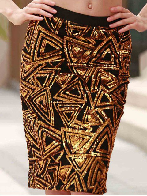 trendy High-Waisted Sequined Pencil Skirt - GOLDEN S Mobile
