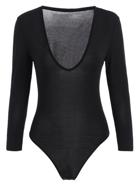 unique Fitted Long Sleeve Plunge Bodysuit - BLACK XL Mobile