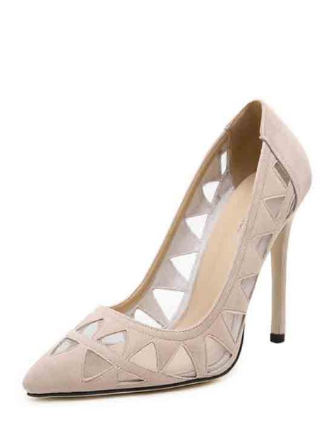chic Hollow Out Geometric Pointed Toe Pumps - APRICOT 39 Mobile