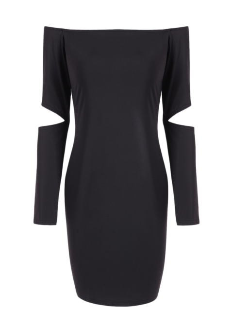 womens Off The Shoulder Long Sleeve Bodycon Dress - BLACK S Mobile